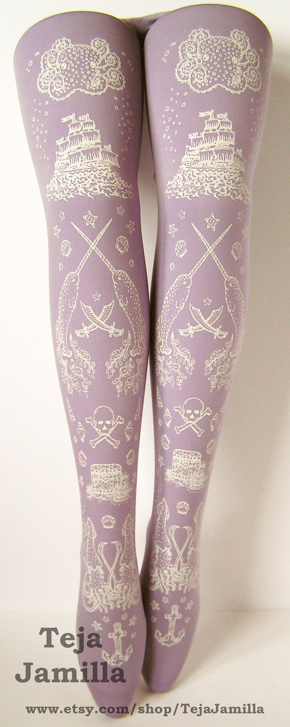 Pirate Printed Tights Nautical Extra Large Plus Size Octopus Narwhal White Lavender Women