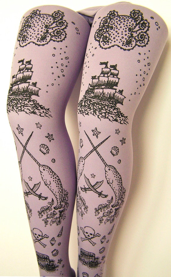 Pirate Printed Tights Sailor Nautical Plus Size Extra Large Octopus Narwhal Squid Skull and Anchor Black Pearl on Lavender Women