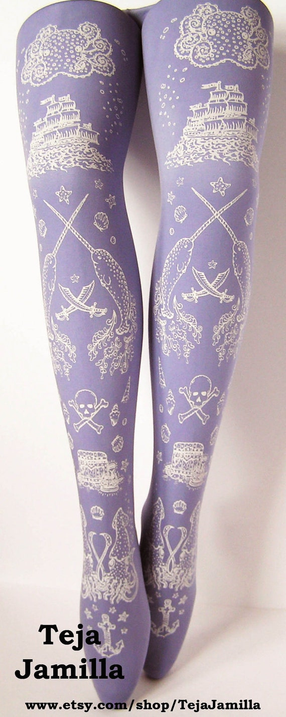 Pirate Printed Tights Sailor Nautical Small Lilac Octopus Narwhal Squid Skull and Anchor White Pearl on Lilac Women