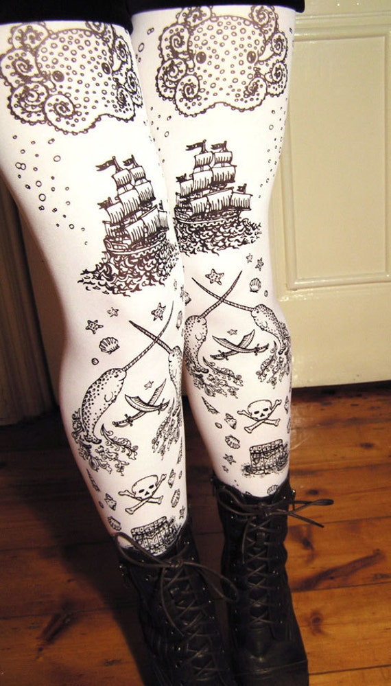 Nautical Tattoos Black and White Tights Printed Small Black Pearl on White Women Octopus Narwhal and Squid
