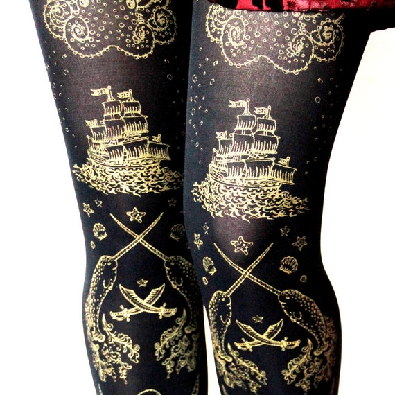 Pirate Tights Black and White Extra Large Narwhal Printed Plus Size White Pearl on Black Womens Nautical Tattoo Sailor Octopus Squid Anchor
