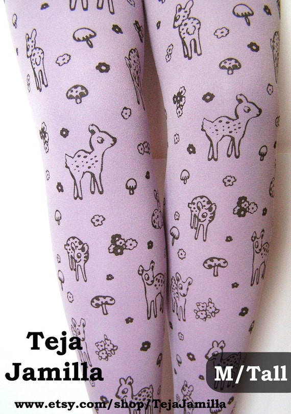 Deer Tights Fawn & Mushroom Print Medium Tall Black Pearl on Lavender Lilac Women Mori Girl Toadstool Forest Cute Retro