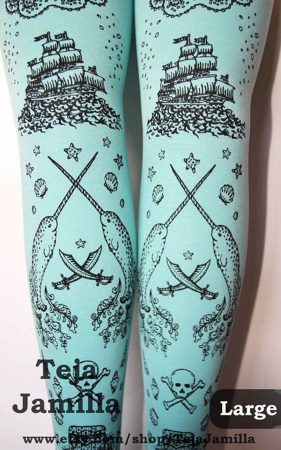 Pirate Printed Narwhal Tights Large Black Pearl on Duck Egg Blue Womens Nautical Tattoos Octopus Squid Sailor