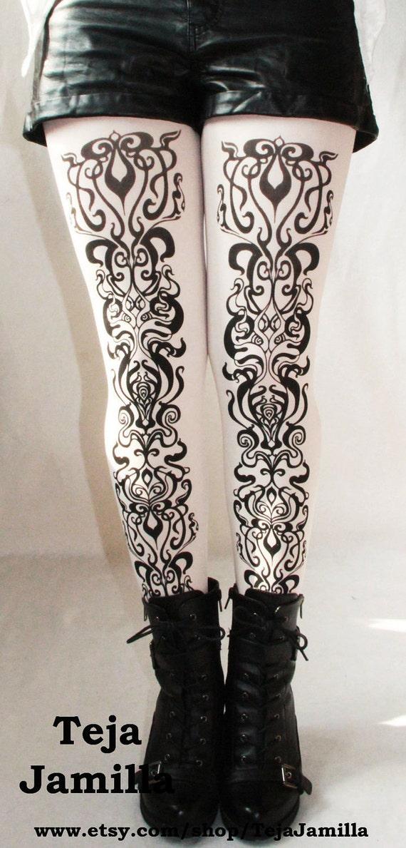 Art Nouveau Printed Black and White Tights Small Medium Black on White Womens Fashion Pattern Leggings