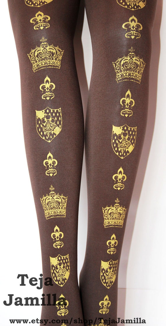 Crown and Crest Printed Tights Small Gold on Chocolate Brown Womens Royal Victorian Lolita Queen Fleur De Lys Medieval Heraldic