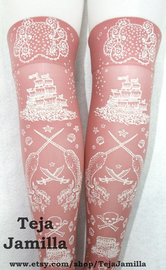 Nautical Pirate Narwhal Socks Stockings Over Knee High Hold Ups Printed Small Medium White on Rose Pink Women Anchor Octopus Sailor Pastel