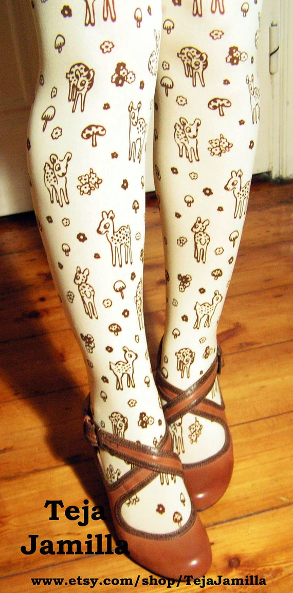 Deer Tights Fawn & Mushroom Print Small Medium Brown on Cream Women Mori Girl Forest Toadstool Woodland Floral Flowers