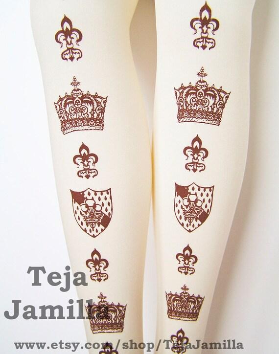 Crown Fleur De Lis Printed Tights Small Medium Brown on Cream Women Lolita Royal Victorian Medieval