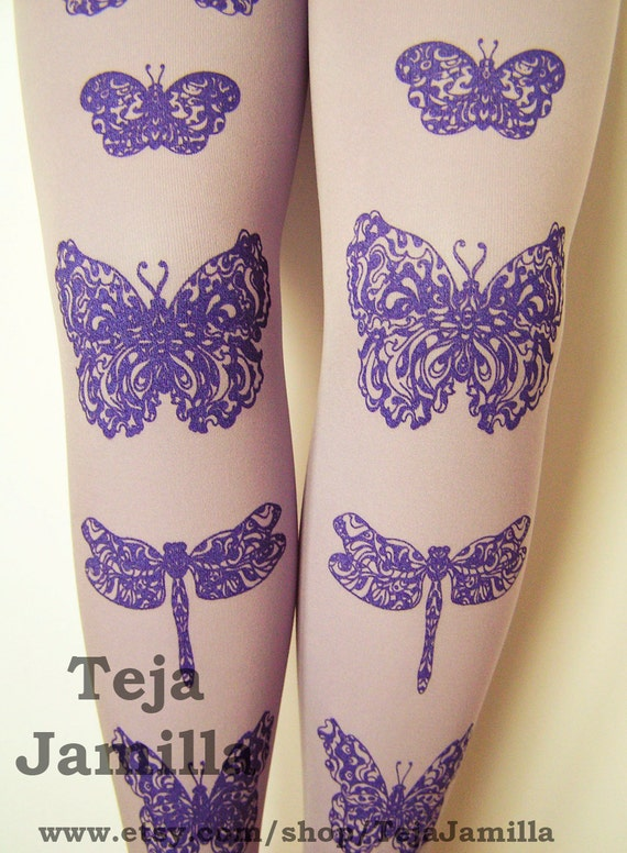 Butterflies and Dragonflies Printed Tights Plus Size Extra Large Black Pearl on Lavender Lilac Purple PastelWomen Butterfly Dragonfly Print