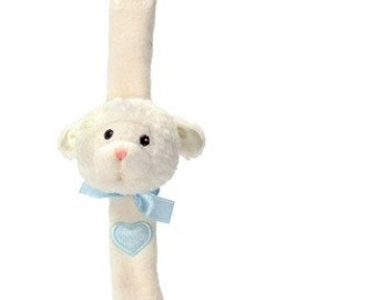 Personalized Lenny the Lamb Wrist Rattle - Blue