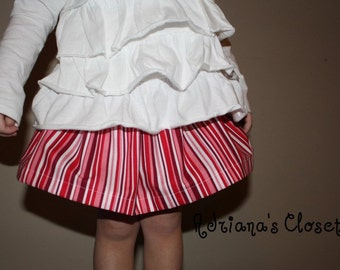 Skirt baby, toddler, girls boutique skirt / Red Stripes skirt /  18 mo ready to ship today