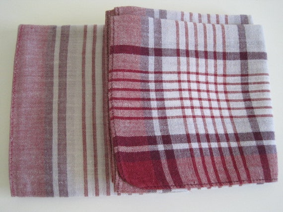 Vintage Mens Handkerchief/ Red and White Plaid
