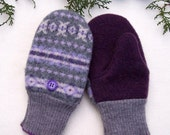 Warm Wool Mittens. Small (preschool, kindergarten).  Grey and plum. Fleece lining.