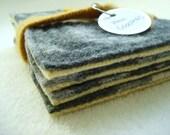 Wool Felt Coasters GRAY & YELLOW Recycled Mug Rugs WormeWoole