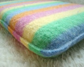 iPad Cover Netbook Sleeve Pastel Stripes, Upcycled Felted Sweater Wool