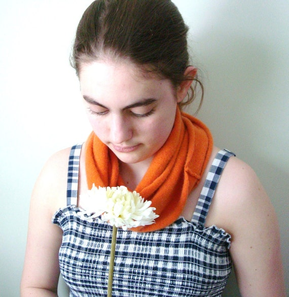 Orange Infinity Scarf Cashmere, Tangerine Infinity Scarf