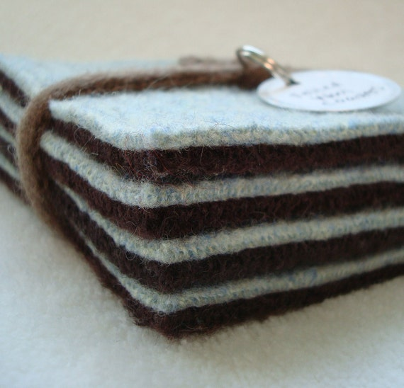 Wool Coasters AQUA BROWN Felted Wool Mug Rug Aquamarine