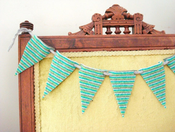 Wool Felt Bunting Green Triangles Pennant Banner by WormeWoole