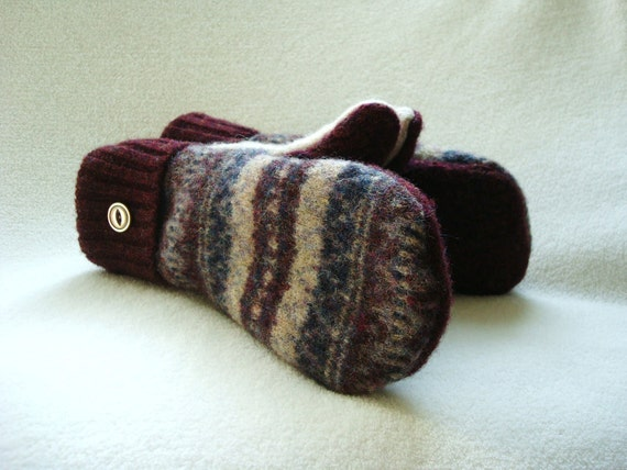 Mittens Felted Wool BURGUNDY Fair Isle Sweater, Cashmere Lined