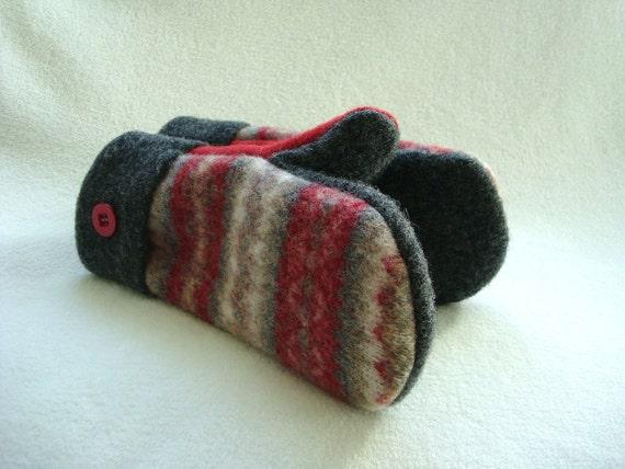 Wool Mittens RED GRAY Fair Isle Felted Sweater Wool Fleece Lined