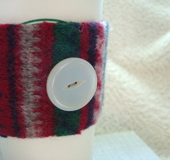 Coffee Sleeve Cozy RED Fair Isle Felted Sweater Wool Cosy Upcycled