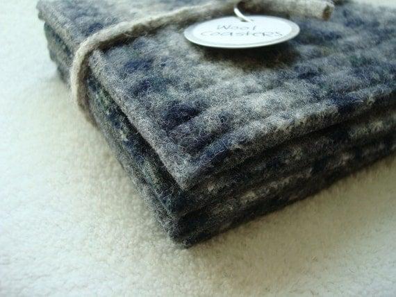 Wool Coasters BLUE GRAY Fair Isle Sweater Wool, Upcycled Mug Rugs by WormeWoole