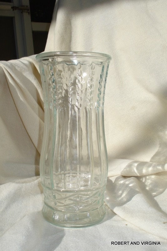 Items Similar To Vintage Brody Co Clear Glass Vase Wheat Trellis On Etsy