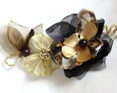 Expedited Shipping, Gold And Black,Flower Brooch/ Hair Pin/ Bridal Fascinator/ Head piece/ Bridesmaid/ Party/ Ball/ Dancing/ Ceremony/