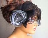 Gray Black Bridal Flower Fascinator, With Birdcage Veil, Bridesmaid, Ball, Dance