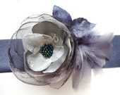 Gray Flower Sash Belt Adorned Feathers Bead/ Bridal / Bridesmaid/ Party/ Ball/ Dancing/ Ceremony/ Ribbon Sash