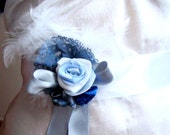 Blue Flower Belt/  Bridal /  Bridesmaid/  Party/ Ball/  Dancing/  Ceremony/ /  Tulle / Feather /Wedding Accessories