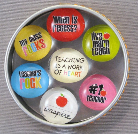 Teacher Gift Magnet Set 7 magnets in a tin Dot Thoughts