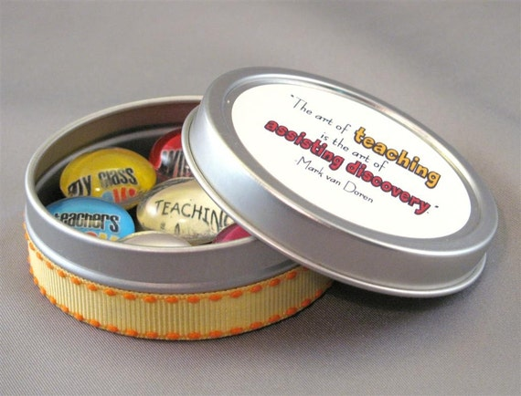 Teacher Appreciation Gift Magnet Set 7 magnets in a tin Dot Thoughts