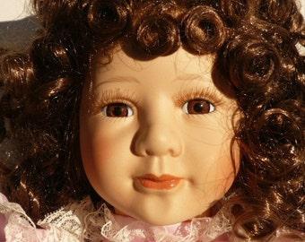 Porcelain Brunette Doll