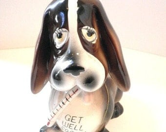 Ceramic Basset Hound Get Well Flower Holder From Japan