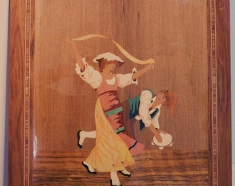 Handmade Inlaid Wooden Wall Hanging From Italy