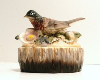 Hand Painted Ceramic Red Robin Trinket Box