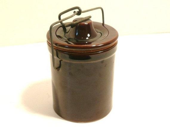 Brown Cheese Crock or Canning Jar Circa 1950s