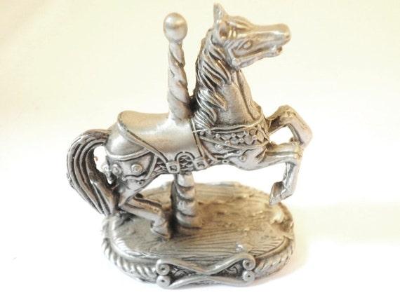 Pewter Carousel Horse Miniature Collectible Circa 1970s