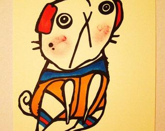Colorful Circus Pug Dog Original Art 8.5X11 SALE