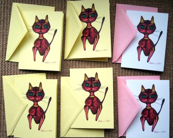 Shabby Chic Cat Notecard Set with Girly Gift Wrap SALE