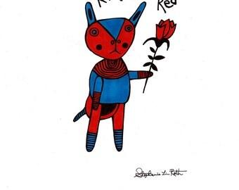 Roses Are Red Valentine's Day Rabbit: Original Art SALE