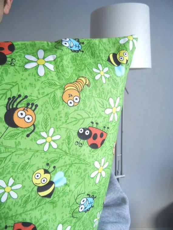 Kid Pillowcase for Bedroom - It's a Bug's World: Ladybugs, inchworms, daisies