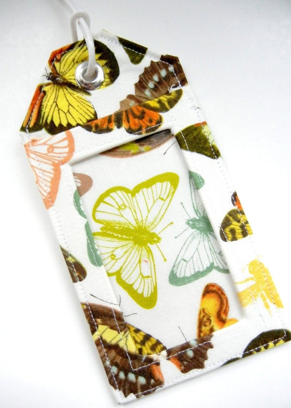 Luggage Tag / Gift Card Holder - Natural Butterflies MADE TO ORDER