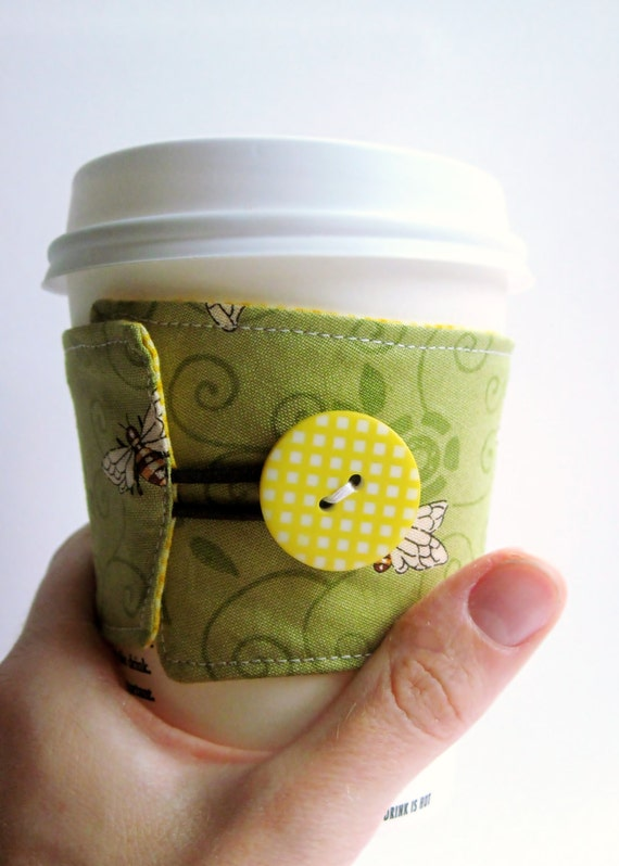 Coffee Cozy Sleeve: Buzzing Honey Bees MADE TO ORDER