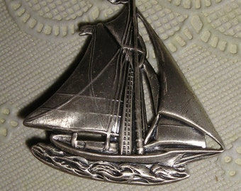 Sterling Silver Danecraft Schooner Brooch/Pin from Carla's Vintage Finds SALE Save20% w/coupon code