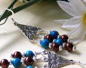Aztec Pyramid Earrings, Chandelier Earrings, Drop Earrings, Dangle Earrings, Bridal Jewelry, Birthday Gift, Anniversary Gift, Summer Trends