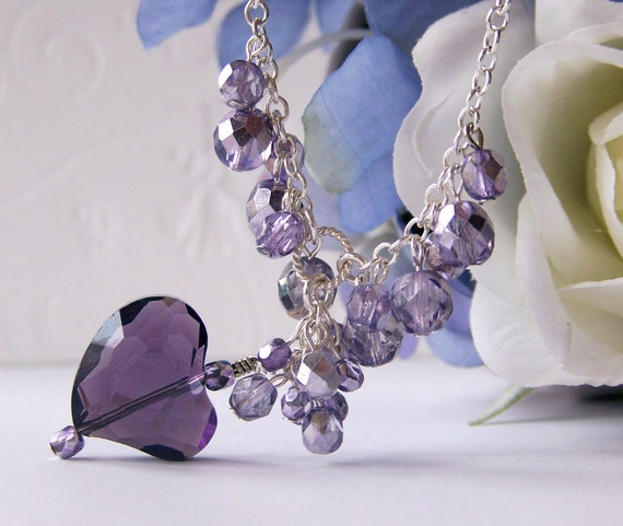 Lavender Crystal Heart Necklace Classic Wedding Jewelry Bridesmaid Anniversary Birthday Gift Trendy Sparkle Party Sexy