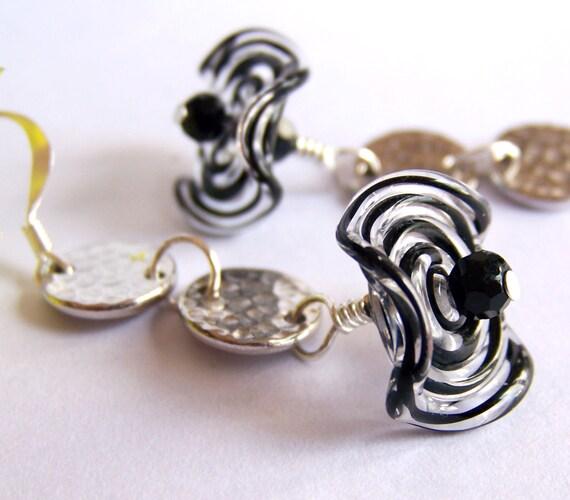 Ruffled Spiral Earrings, Drop Earrings, Dangle Earrings, Chandelier Earrings, Bridal Jewelry, Anniversary, Birthday, Mother's Day Jewelry