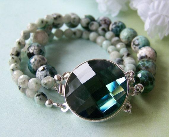 "Absinthe ""Verte"" Bracelet, Quartz Agate, Emerald Green, Gemstone Bracelet, Beadwork Bracelet, Irish Jewelry, Birthday, Mother's Day Jewelry"